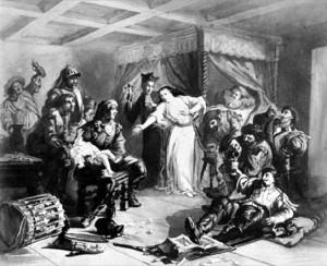 Illustration des Dragonnades: les Dragons, soldats de cavalerie légère, étaient stationnés chez les Protestants avec tous les droits les plus arbitraires sur eux jusqu'à ce qu'ils abjurent le protestantisme. Ici, un bébé affamé est maintenu à l'écart de sa mère pendant que celle-ci est harcelé par un prêtre au milieu des soudards qui ont ravagé son foyer.