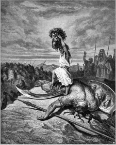 David brandissant la tête de Goliath, illustration de Gustave Doré